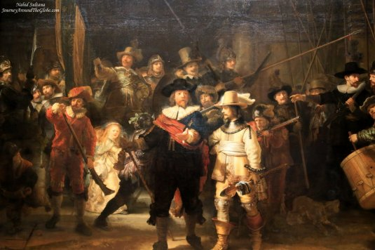 "Dutch painter Rembrandt's masterpiece ""Night Watch"" inside Rijksmuseum in Amsterdam, The Netherlands"