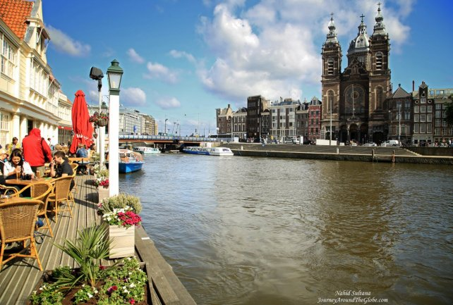 Endless canals of Amsterdam in The Netherlands