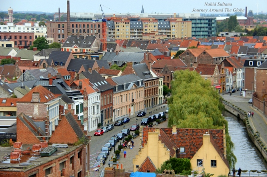 Panoramic view from top of the keep of Counts Castle in Gent