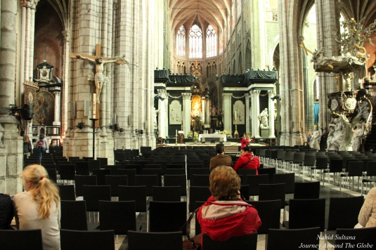 Inside St. Bavo's Cathedral in Gent