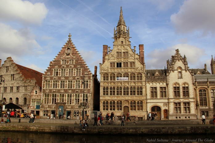 Medieval and historical buildings of Graslei in Gent, Belgium