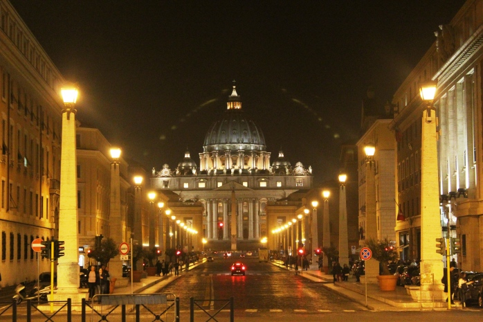 The grand entrance to Vatican City (walking from Castle Sant'Angelo) St. Peter's Basilica on the other side