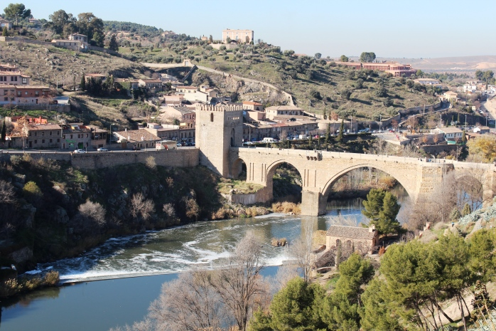 An overview of Toledo with River Tagus and Puente de St. Martin