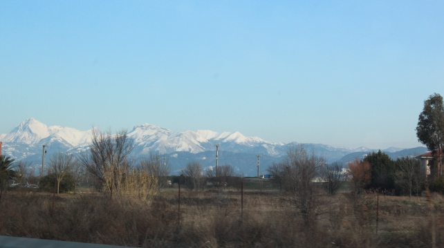 Snow-capped Pisan Mountains on our way to Florence