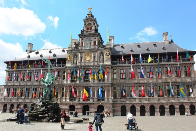 Antwerp old City Hall with the statue of Brabo in the front in Belgium