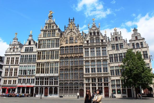 The guild houses in Grote Markt of Antwerp, Belgium