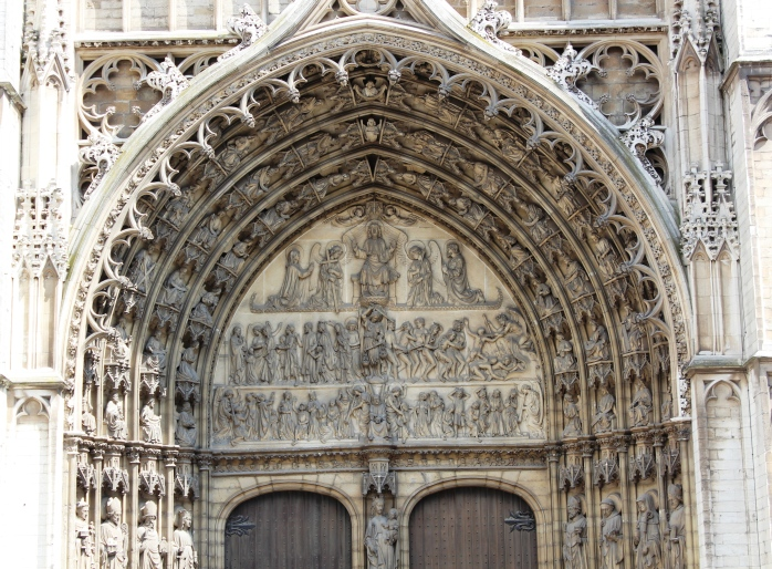 Grand entrance to the Cathedral of Our Lady in Antwerp, Belgium