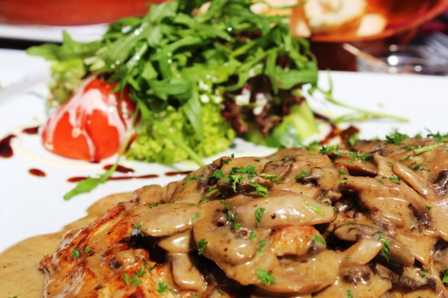 My lunch in Antwerp, chicken with mushroom