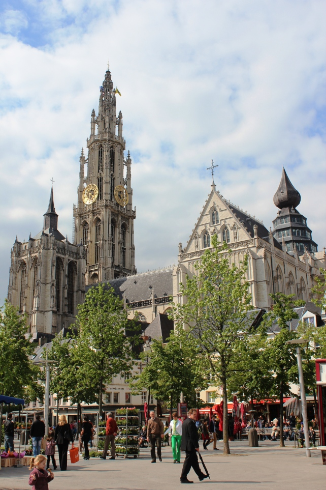 Groenplaats with Cathedral of Our Lady in the back in Antwerp, Belgium