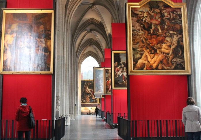 Paintings of Peter Paul Ruben inside Antwerp Cathedral in Belgium
