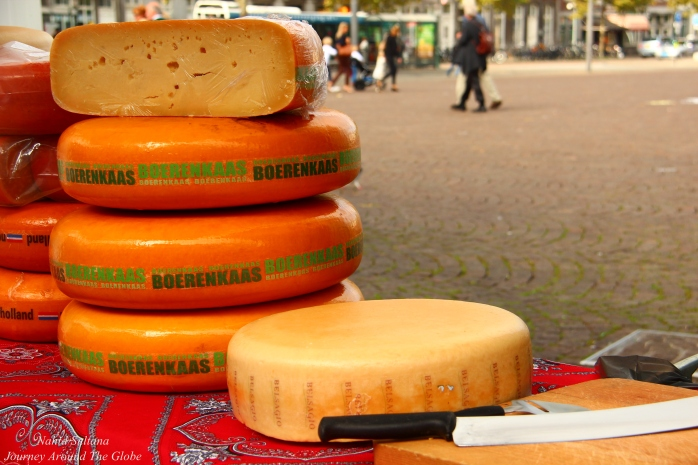 Cheese vendor in Markt near Town hall in Maastricht, The Netherlands