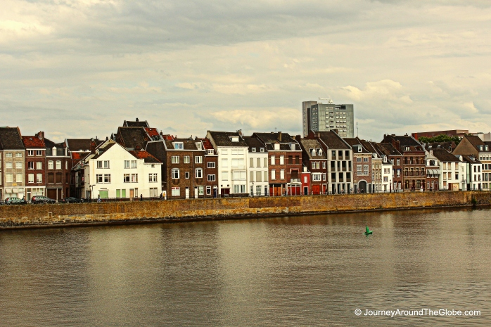 City of Maastricht by River Maas in The Netherlands