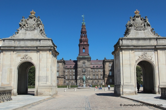 Entering Christiansborg Palace in Copenhagen, Denmark