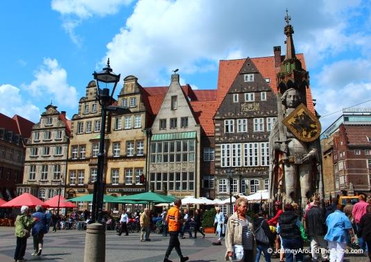 Statue of Roland in Altmarkt in Bremen, Germany