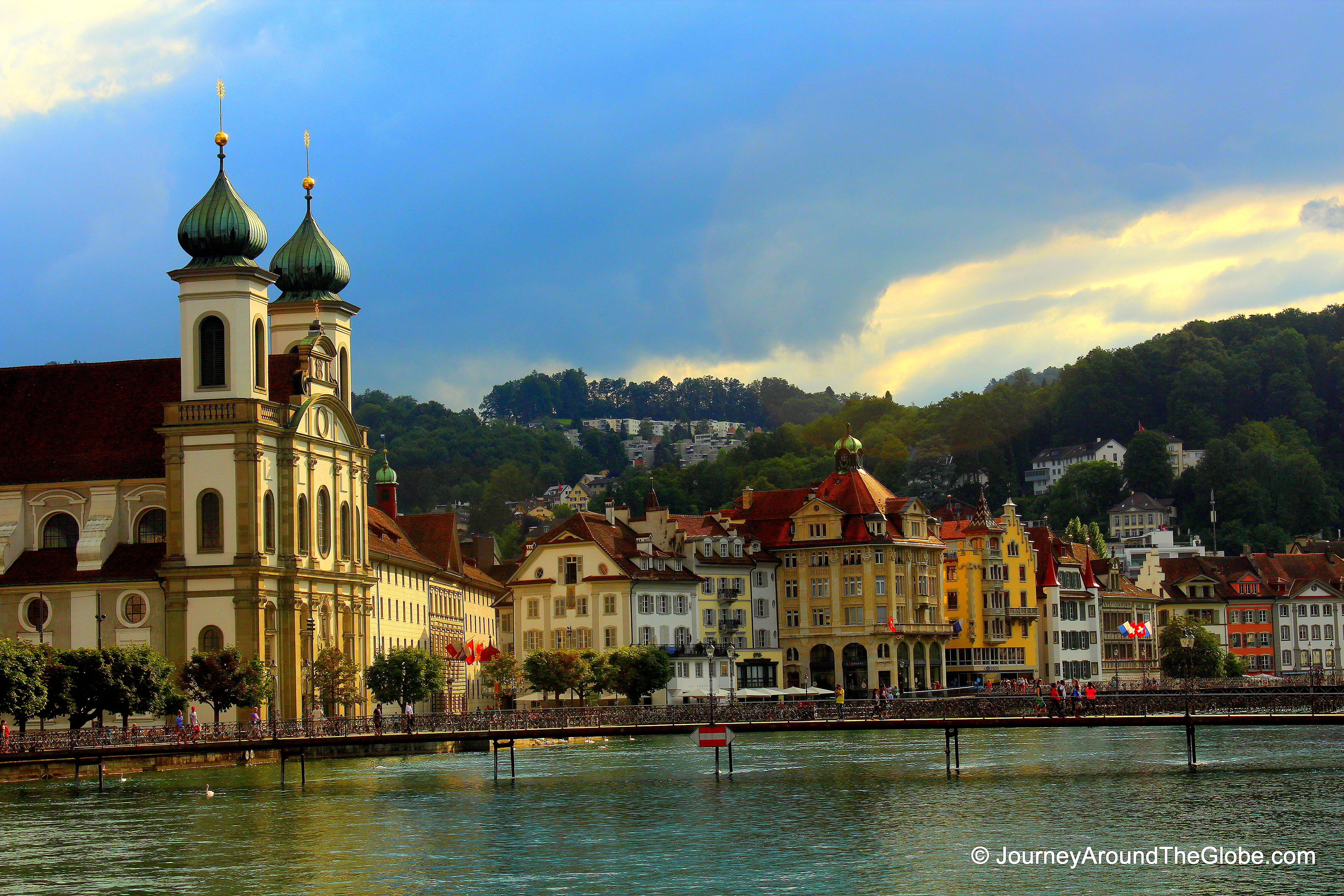 View Of Jesuitenkirche And Surroundings From The Chapel Bridge, Lucerne,  Switzerland