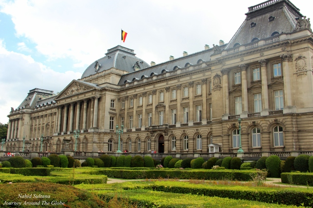Front façade of Royal Palace of Brussels in Belgium