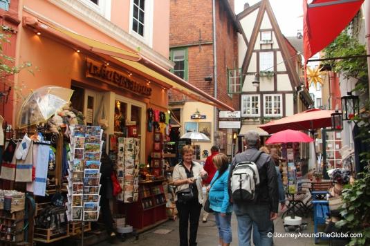 Cozy streets and markets of Schnoor in Bremen, Germany