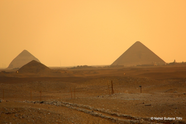 Bent pyramid (back on the left) of Dahshur and Red pyramid (on the right) in far distance, seen from Saqqara