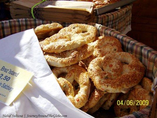 Brezen, a preztel-like snack, is very popular in Salzburg