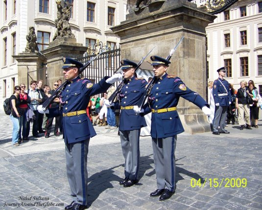 """Change of Guard"" at the entrance of Prague Castle"