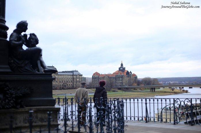 From the pedestrian terrace in Schlossplatz, Dresden