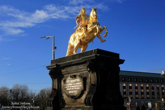 Goldener Reiter - a golden statue of King Augustus the Great in Neustadt Dresden, Germany