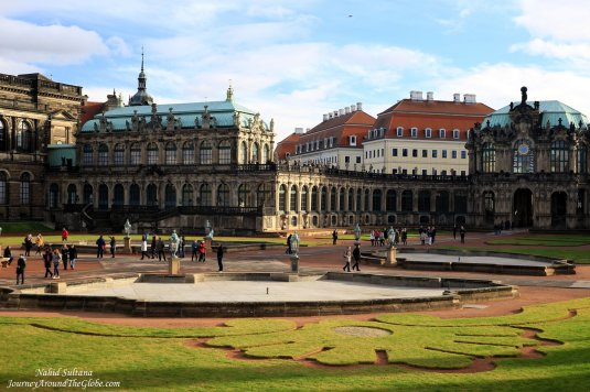 Dresden Zwinger - Glockenspiel Pavilion (clock tower) on the right