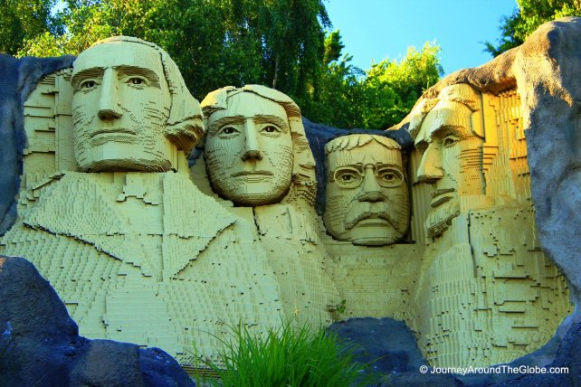 Mount Rushmore National Memorial made with thousands of Lego bricks in Legoland Billund, Denmark