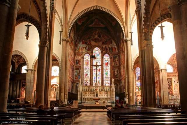 Main altar of Basilica Santa Maria Novello in Florence, Italy