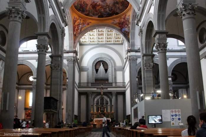 Inside Basilica de San Lorenzo in Florence, Italy