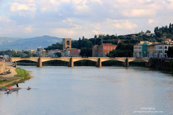 Florence or Firenze in Italy by River Arno