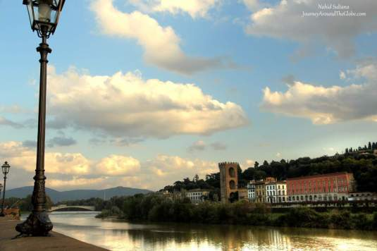 Walking by River Arno in Florence, Italy