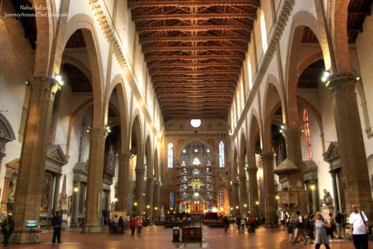 Inside Santa Croce in Florence, Italy
