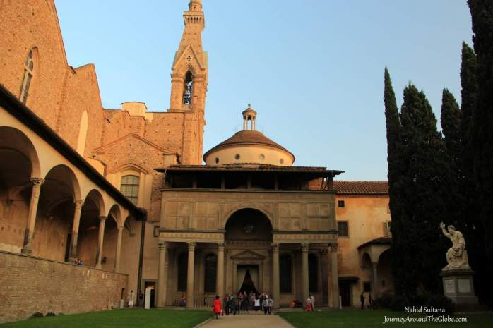 In the courtyard of Santa Croce in Florence, Italy