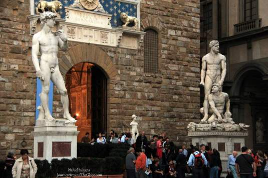 Entrance of Palazzo Vecchio  in Florence, Italy