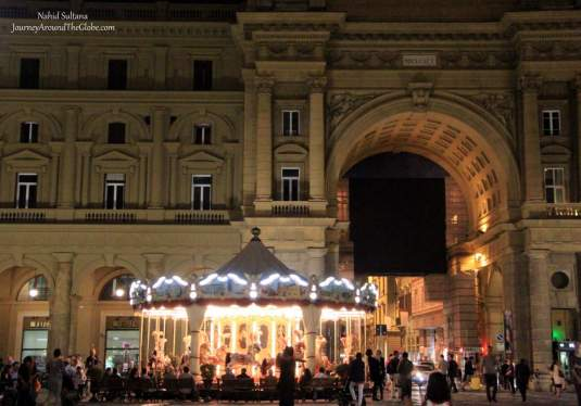 Piazza della Republica at night in Florence, Italy