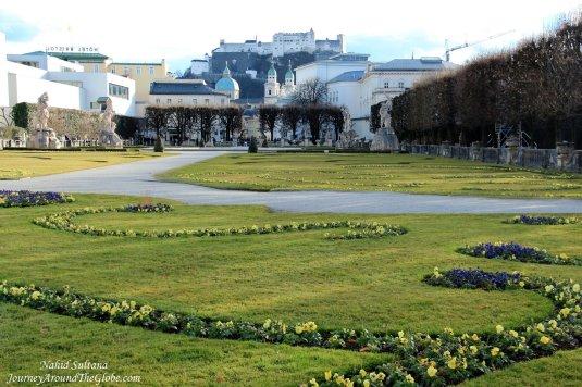 Mirabel Garden and Hohensalzburg Fortress it the distance...in Salzburg, Austria