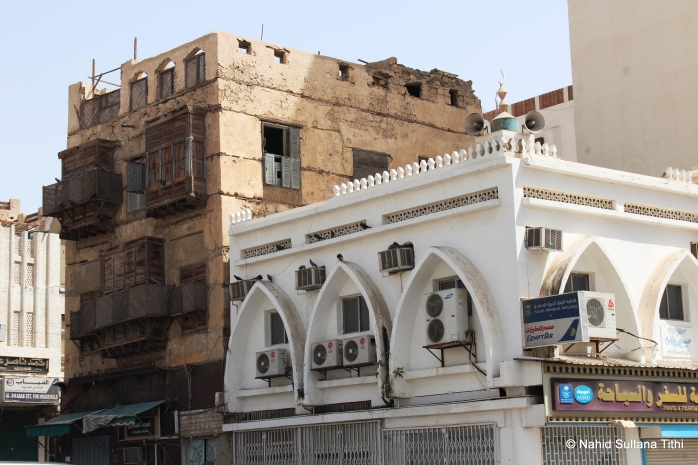One of the original and oldest buildings (left one) in Al-Balad, Jeddah