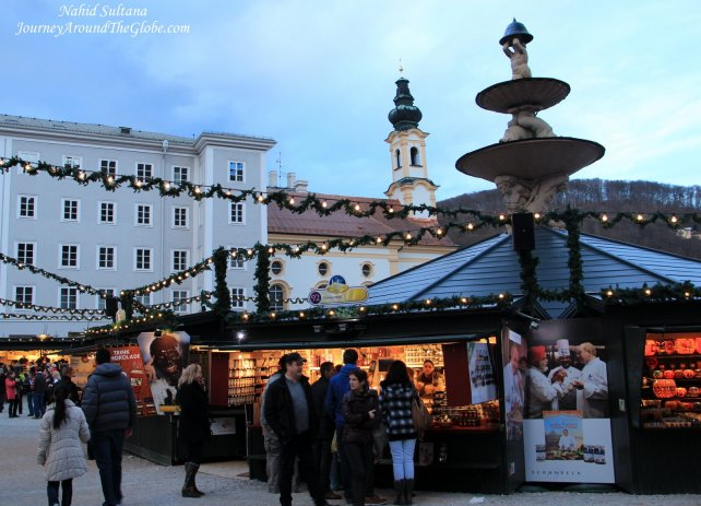 Christmas market in Residenzplatz in old town of Salzburg, Austria