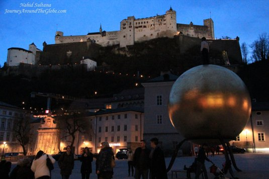 Hohensalzburg Fortress on the hill from Capitalplatz