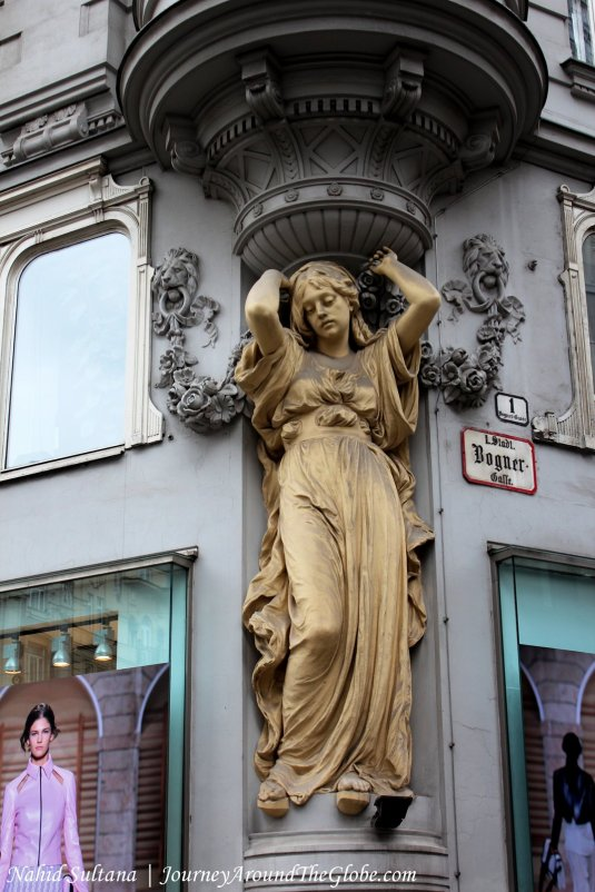 Beautiful statue outside an old building of Vienna