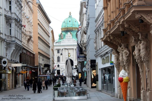 Innere Stadt or 1st District of Vienna, you can see the green dome of Hofburg Palace