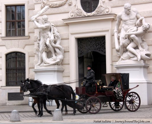Historic city center of Vienna - a UNESCO World Heritage Site (Michaerplatz near Hofburg Palace)