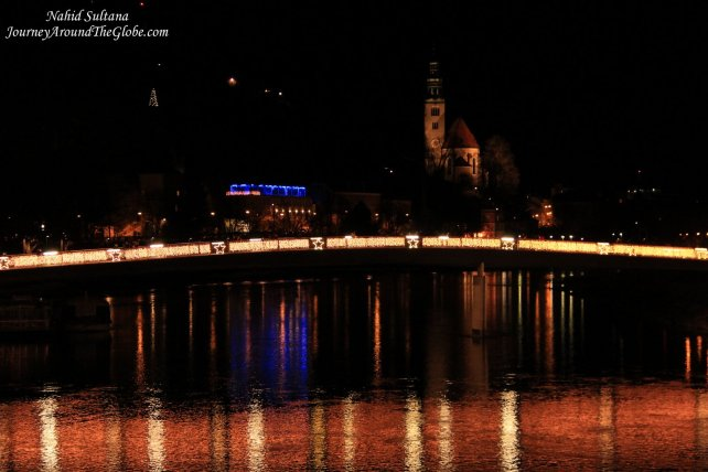 River Salzach at night, walking back to our hotel