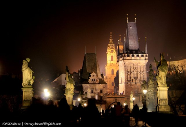 Charles Bridge at night, in Prague