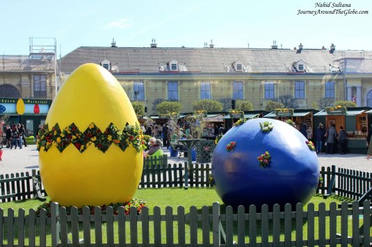 Easter decoration in front of Schoenbrunn Palace in Vienna