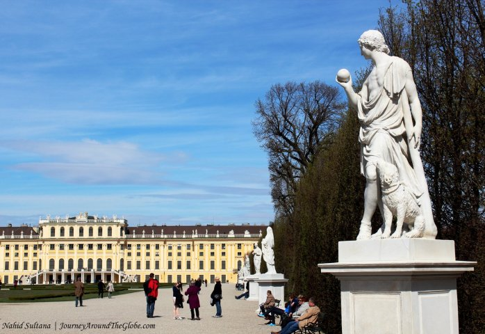Back of Schoenbrunn Palace and its garden in Vienna, Austria