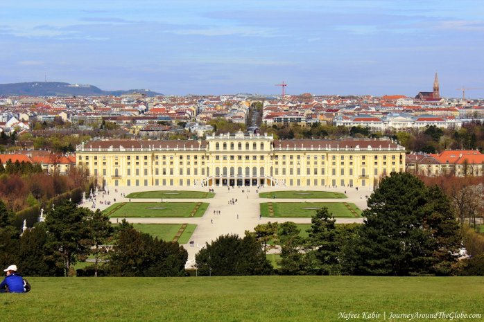 Stunning view of Scheonbrunn Palace and Vienna from Panorama Terrace