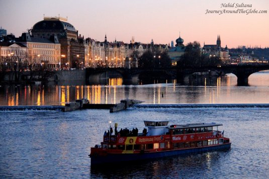 River Vltava and the city of Prague from Charles Bridge