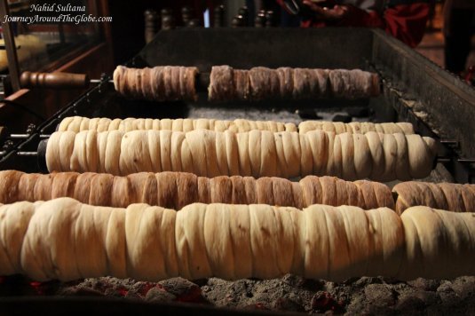 Trdelnik - a rolled pastry on burning coal, something local we tried in Prague